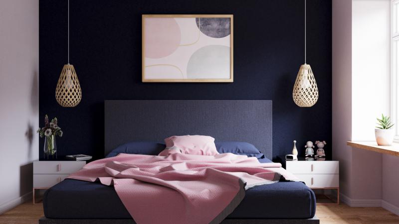 infografía habitacion azul